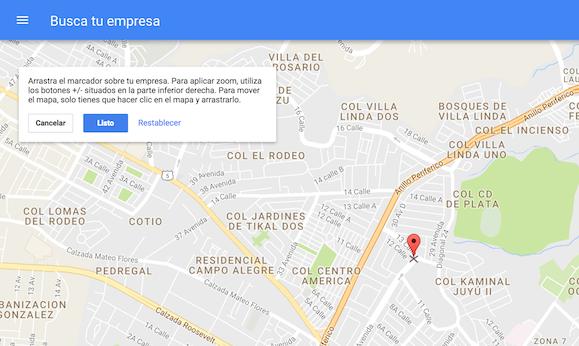 Ubicar el Marcador del Mapa de Google